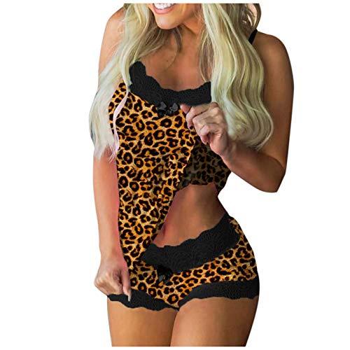 JenK Cing Damen Spitze Dessous Leopardenpunktdruck Nachtwäsche Sexy Strapsen Unterwäscheset ärmellos Reizvolle Leopard Reizwäsche Bequem und locker Tank Tops Shorts Sommer Pyjamas Outfits