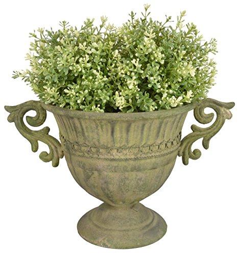 Esschert Design Aged Metal Grün Vase rund S aus veraltetem Metall, 35,6 x 24,0 x 22,6 cm