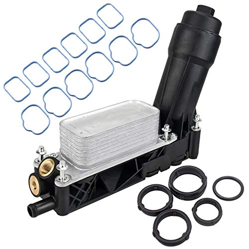 Engine Oil Cooler Assembly Filter Housing Adapter & Intake Manifold Gasket Set Compatible with 2011-2013 Jeep Wrangler Grand Cherokee Dodge Avenger Challenger Durango Grand Caravan Chrysler Town