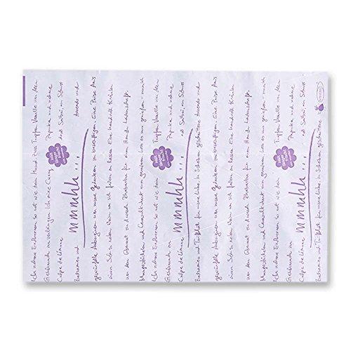 500x OVTENEzero-Zuschnitte ¿mmmhh.¿, Einschlagpapier, Weiß/Lila, 25 x 37 cm