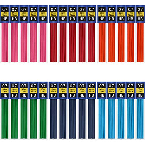 360 Pieces Colorful Lead Refill Pencils Lead Mechanical Pencil Refills for School Office Supplies, 30 Tubes (0.7 mm)