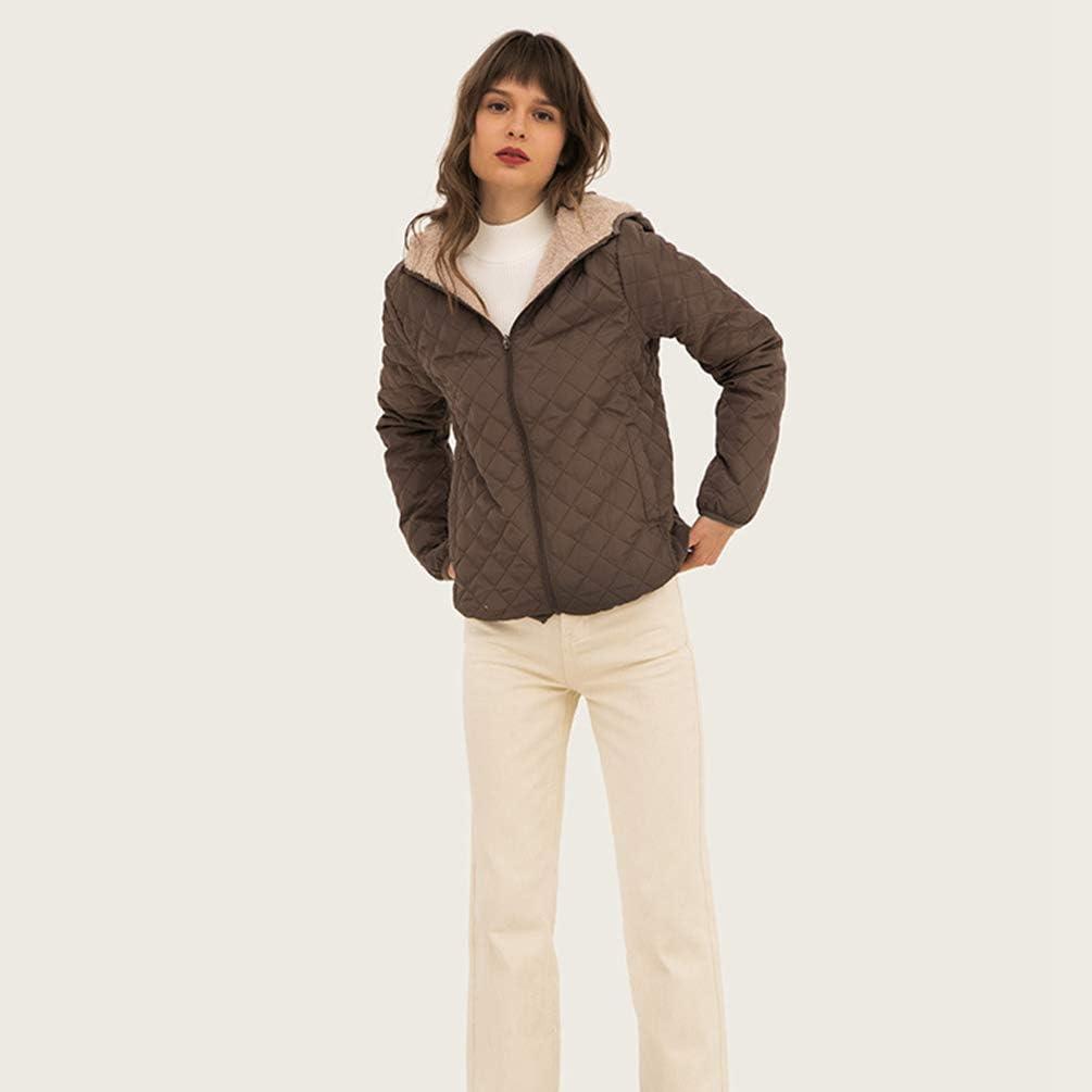 GladiolusA Damen Winter Mantel Langarm Jacke Steppjacke Übergangsjacke Mit Kapuze Kaffee