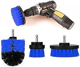 ONEVER 3PCS Drill Scrubber Brush Power Full Electric Cerda Bathet Tile Grout Cleaner (Azul)