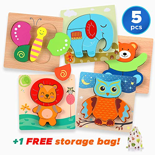 Wooden Animal Peg Jigsaw Puzzles 5 Pcs. Set for Kids Girls Boys Educational Montessori Learning Toys for Toddlers 1 Year Old Up, Rainbow Color Gift and Games for Children in Car & on Plane Travel