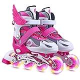 BSTEle Patins à Roues alignées Patins à roulettes réglables pour Enfants avec Roues Lumineuses Roller Fun Clignotant Patins à roulettes Lumineux pour garçons et Filles