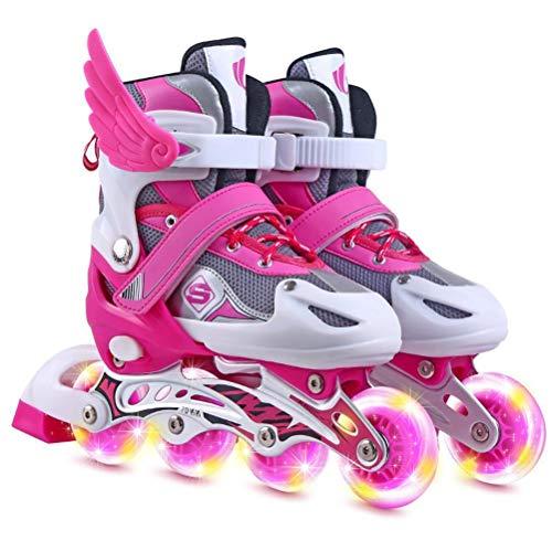Inline-skridskor justerbara rullskridskor med lysande hjul nybörjare lysande rullskridskor för flickor, pojkar, barn, vuxna