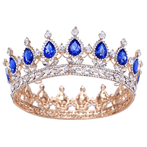 Santfe 2 Height Silver/Gold Plated Crystal Rhinestone Ruby Full Circle Tiara Crown Bridal Wedding Jewelry Hair Accessories (Gold+blue)
