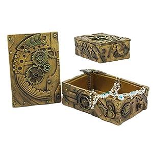 Ebros Steampunk Mechanical Gears Clockwork Vintage Design Jewelry Box Figurine 5″ L Science Fiction Steampunk Trinket Box