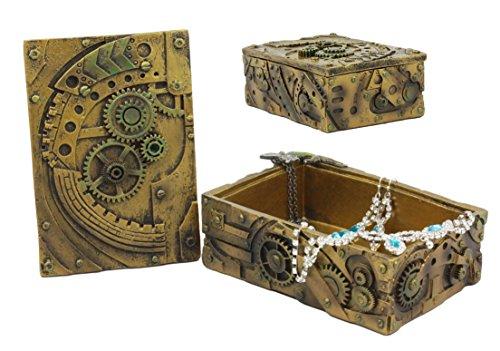 "Ebros Steampunk Mechanical Gears Clockwork Vintage Design Jewelry Box Figurine 5""L Science Fiction Steampunk Trinket Box 3"