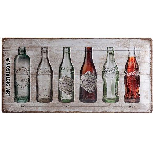 Nostalgic-Art Retro Blechschild Coca-Cola – Bottle Timeline – Geschenk-Idee für Coke-Fans, aus Metall, Vintage-Design zur Dekoration, 25 x 50 cm