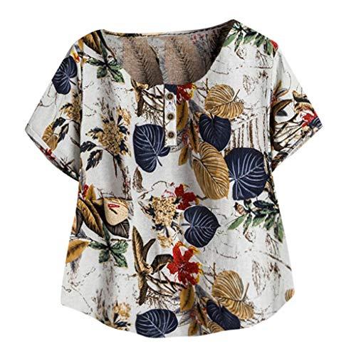 Binggong Blumen Druck Leinenhemd Kurzm Damen Freizeit Sommershirt T Shirts Frauen Tunika Tops Übergröße Rundhals Baumwolle Leinen Oberteile Kurzarmshirt