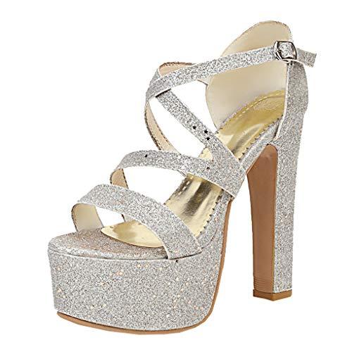 Extrem High Heels Plateau Sandaletten mit Blockabsatz und Glitzer Sandalen Riemchen 15cm Absatz Schuhe (Silber,36)