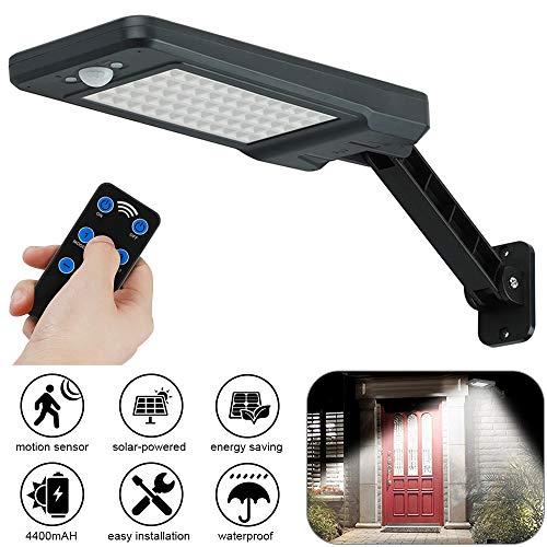 GEYUEYA - Lámpara solar de pared, 60 LED, para exterior, sensor de movimiento solar, luz de seguridad IP65, resistente al agua, luces de pared con focos giratorios instalados, 60 ledes de color negro.