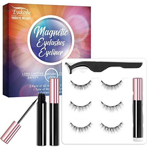 EYEKESHE Magnetic Eyelashes with Eyeliners, Natural Look Short Magnetic False Lashes with Applicator Kit-Upgraded Eyeliner,Reusable,Easy to Remove and No Glue Needed(3 Pairs)