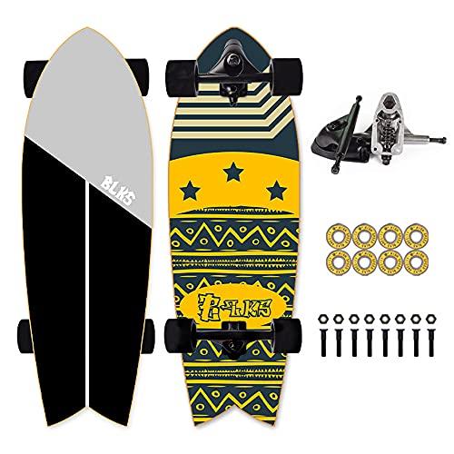 VOMI Land Surfskate Skateboard Komplettboard CX4 Ahornholz 9-Lagiger, Holzboard ABEC-11 Kugellager, 78A Rollenhärte, Double Kick Deck Concave Board Für Anfänger Kinder, Jugendliche Und Erwachsene,A