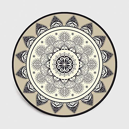 FORNCALO tapijten tapijten matten deurmatten mode eenvoudige ronde tapijten Scandinavische abstracte geometrisch bloem grijs zwart gebied tapijt slaapkamer Parlor tapijt mand zwenkstoel mat