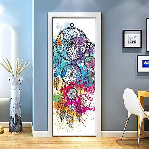 KEXIU 3D Atrapasueños de inyección de tinta a color PVC fotografía adhesivo vinilo puerta pegatina cocina baño decoración mural 77x200cm