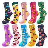 Jielucix Bunte Socken Damen Lustige Baumwolle Farbige Anzugsocken für Frauen 39-42 (10 Paare Bunte 169C)