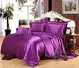Juego de ropa de cama de seda de satén de lujo, funda de edredón y sábana bajera ajustable para cama individual, tamaño Queen King 05, 4 unidades