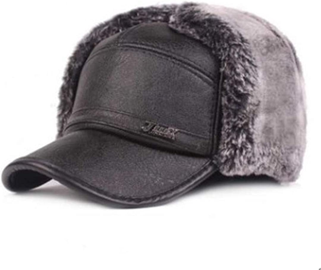 QCTZ 55% Ultra-Cheap Deals OFF Winter Men's Earmuffs Hat Vel Imitation Bomber Hats Leather