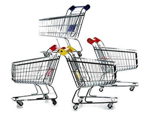 hibuy Mini Deko Supermarkt Einkaufswagen aus Metall, Gitterwagen Kinder Spielzeug, Geschenkidee, Wichtelgeschenk, 22cm Lang, Farbe: Gelb