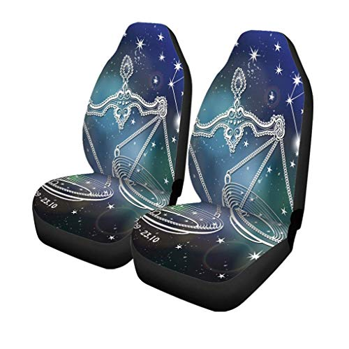 XZfly Autositzbezüge Waage Sternzeichen Vintage Horoskop Sternbild Sterne Abstrakt Raum Set von 2 Protektoren Auto Fit für Auto