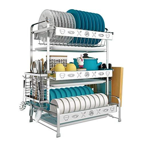 ZGQA-GQA Kitchen shelf Stainless Steel Kitchen Shelf 3Layer Dish Rack, Cutlery Storage Rack