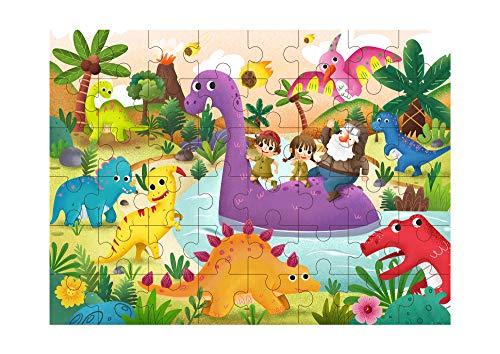 Tooky Toy Puzzle 48 Teilig - Spielspaß für Kinder ab 3 Jahren - Motorik-Spiel Kinder-Puzzle Kinderspiel (Dinos)