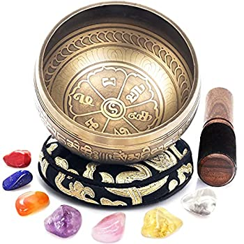 Tibetan Singing Bowl Set - Easy to Play - 7 Chakra Crystal stones - Handcrafted in Nepal for Meditation Mindfulness Yoga Spiritual and Body Healing and Energy Cleansing