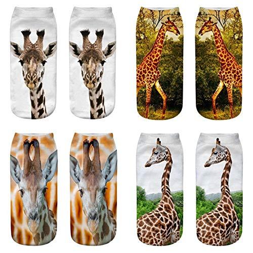 MIWNXM 10 Pares Giraffe Print Socks Women Short Socks Animal Design Funny Creative Female Ankle Cotton Socks