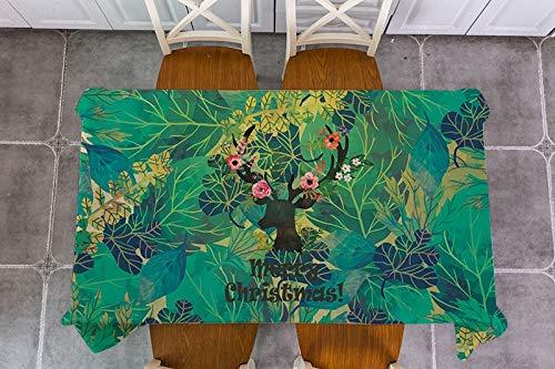 XXDD Plant Leaf Christmas Elk Santa Claus Tablecloth Rectangular Tablecloth Dining Table Cover A3 135x200cm