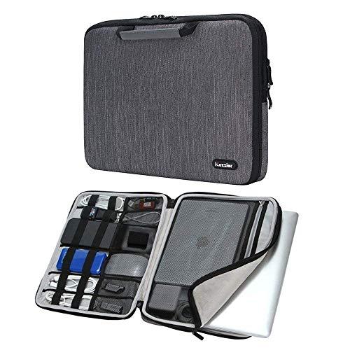 iCozzier 14 Zoll Griff Laptop Aktentasche Elektronische Zubehör Organizer Messenger Tragetasche Sleeve Schutztasche für 13,5-14,1 Zoll Laptop/Notebook/Ultrabook - Grau