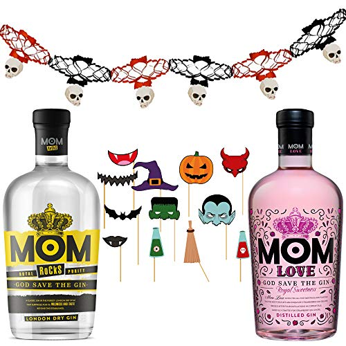 González Byass Ginebras Mom Love + Mom Rocks - Pack de Fiesta - 2 botellas de 700ml + guirnaldas y accesorios photocall