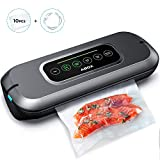 ABOX Vacuum Sealer, V66 Automatic Food Sealer Machine One-Touch Sealing for Dry and Moist Food Fresh Preservation with 10PCS BPA Seal Bags for Meat, Vegetables, Fruits