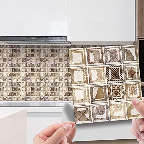 Hiser 30 Piezas Adhesivos Azulejos Pegatinas para Baldosas del Baño/Cocina Bohemia Impresión de Mosaico - Mármol Clásico Resistente al Agua Pegatina de Pared Decorativos (20x20cm,Camello)