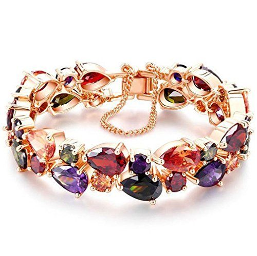 YAZILIND Buckle Bracelet Rose Gold Plated Pretty Color Zircon Bangle for Women Girls Party Jewelry(17cm)