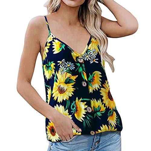 Frauen Damen Sexy V-Ausschnitt Camisole Top Spaghettiträger Sonnenblume gedruckt Lose Weste Tank Bluse T-Shirt