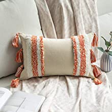 MIULEE Funda de Cojín para Sofa Fundas de Cojines Bohemia Almohadas Decorativas Copetudas Suave Decoración Moderna para Silla Cama Sala de Estar Dormitorio 1 Pieza 30x50 cm Blanco y Naranja
