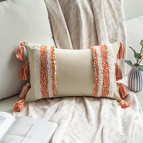 MIULEE Funda de Cojín Protectores Cojines de Decorativa Cuadrado Copetudas Moderna Suave para Sofá Silla Cama Sala de Estar DormitorioHogar 1 Pieza 30x50cm Naranja