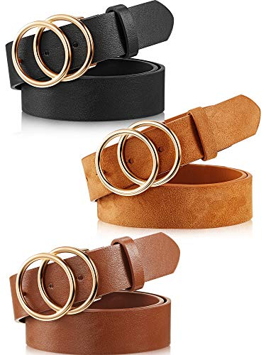 """3 Pieces Women Leather Belt for Jeans Dress Waist Belts with Double Ring Buckle (black, brown and khaki, M: suit for waist 30""""-34"""")"""