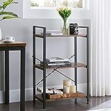 VINEXT Small Bookcase,3-Tier Bookshelf Storage Rack Shelf Unit for Living Room Bedroom Office Kitchen, Industrial Book Shelves Vintage Wood and Metal Bookshelves, Retro Brown