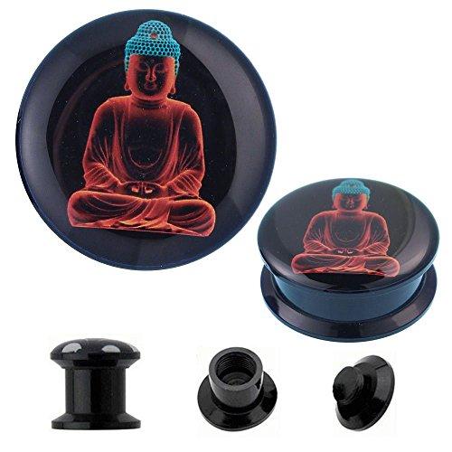 Chic-Net Schroef Plug acryl Boeddha oranje turquoise 3D Tunnel Expander Piercing Oorbellen