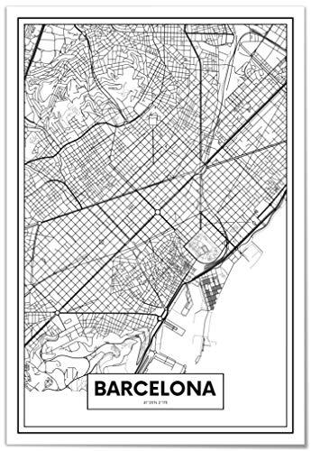 Panorama Póster Mapa de Barcelona 21 x 30 cm - Impreso en Papel 250gr - Póster Pared - Cuadros Modernos Decoración Salón - Cuadros para Dormitorio - Póster Decorativos