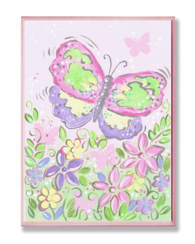 The Kids Room Pastel Large Butterfly and Flowers Wall Plaque by The Kids Room by Stupell (English Manual)
