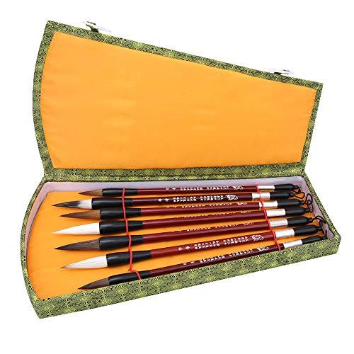 7 Stks Kalligrafie Borstel, Klassieke Penseel Set Weasel Haar Hout Handvat Chinese Traditionele Pen met Geschenkdoos voor Beginner Studenten
