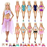 5 Sets Swimwear Swimsuit Beach Bikini Bathing Clothes for Barbie Doll with Shoes Xmas Gift by Barwa