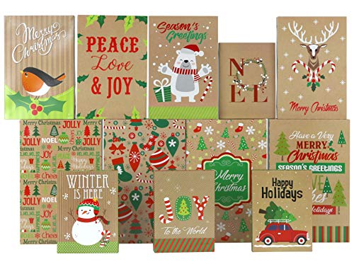 Iconikal Christmas Holiday Kraft Gift Boxes - 3 Sizes, 12-Pack