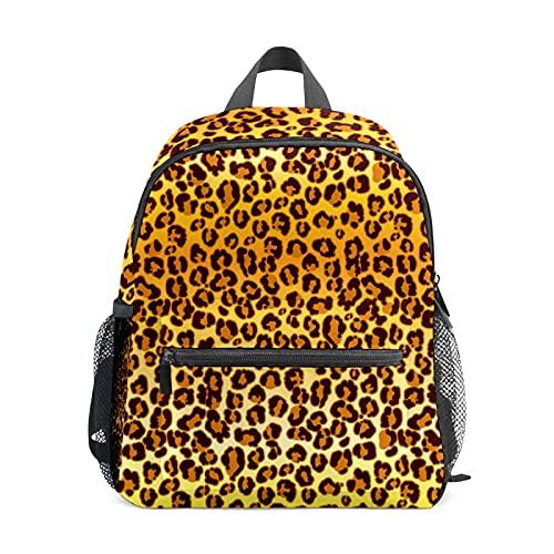Mochila pequeña para niñas con estampado de leopardo amarillo dorado para mujer de 12 pulgadas, bolsa de viaje para la escuela para niñas y niños