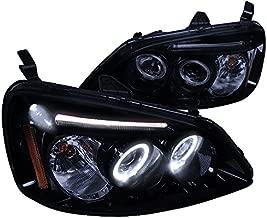 Spec-D Tuning 2LHP-CV01G-TM Honda Civic Dual Halo Led Glossy Black Projector Headlights