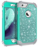 Pandawell Compatible iPhone 6s Case, iPhone 6 Case, Luxury Glitter Sparkle Bling Heavy Duty Hybrid Sturdy Armor High Impact Shockproof Protective Cover Case for Apple iPhone 6s/6 - Shiny Teal
